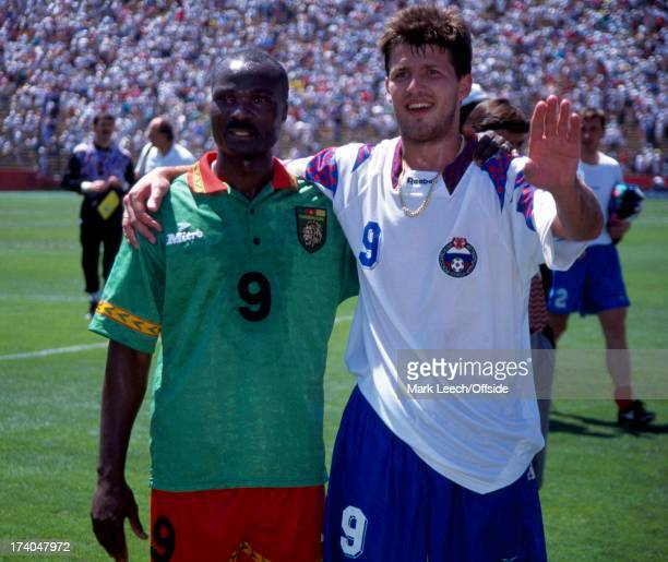 Football World Cup 1994 Cameroon v Russia Record breaking goalscorers Roger Milla and Oleg Salenko Oleg Salenko scored a record breaking 5 goals in...