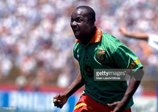 Football World Cup 1994 Cameroon v Russia Roger Milla celebrates his goal Roger Milla of Cameroon was the oldest player to play in a World Cup