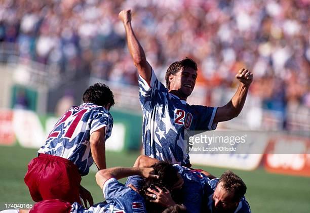 Football World Cup 1994 Colombia v USA Paul Caligiuri celebrates the winning US goal