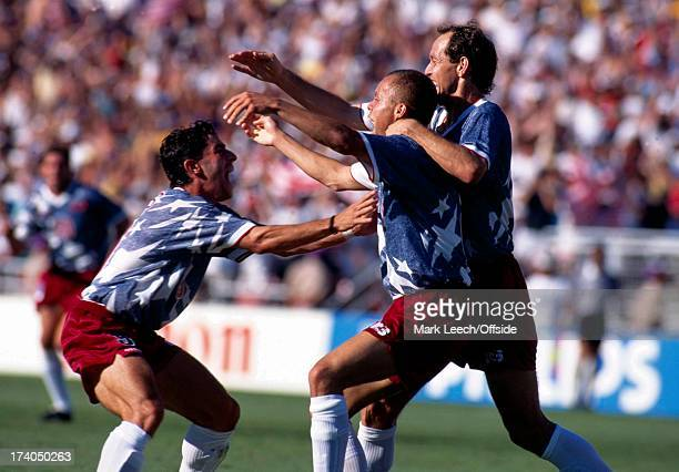 Football World Cup 1994 Colombia v USA The USA players celebrate Ernie Stewart's winning goal