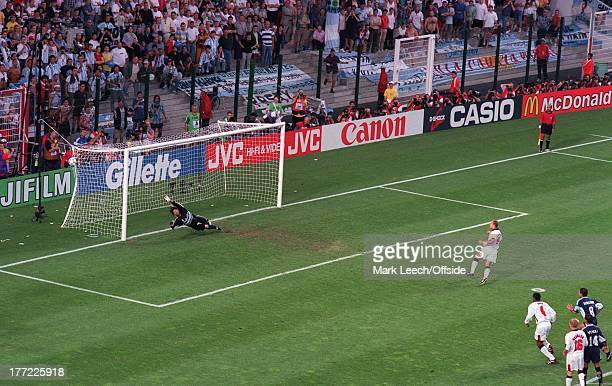Football World Cup 1998 Argentina v England Alan Shearer scores a goal for England from the penalty spot