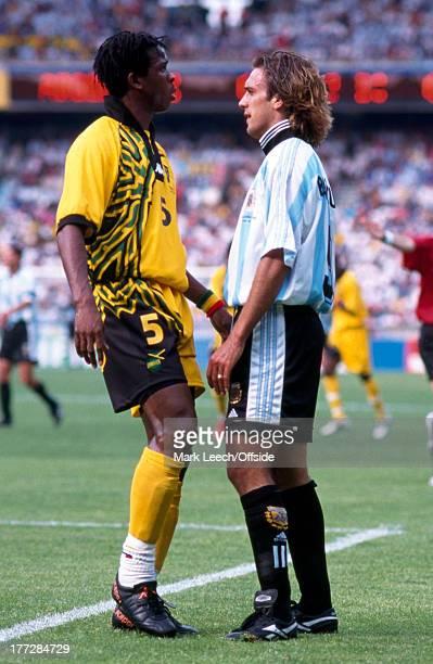 Football World Cup 1998 Argentina v Jamaica Gabriel Batistuta confronts Ian Goodison