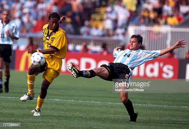 Football World Cup 1998 Argentina v Jamaica Ricardo Gardner and Nelson Vivas