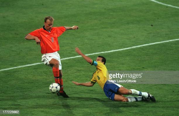 Football World Cup 1998, Brazil v Holland , Dennis Bergkamp skips around Dunga.