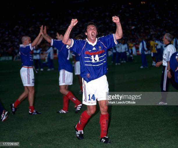 Football World Cup 1998 France v Brazil Alain Boghossian celebrates the World Cup victory