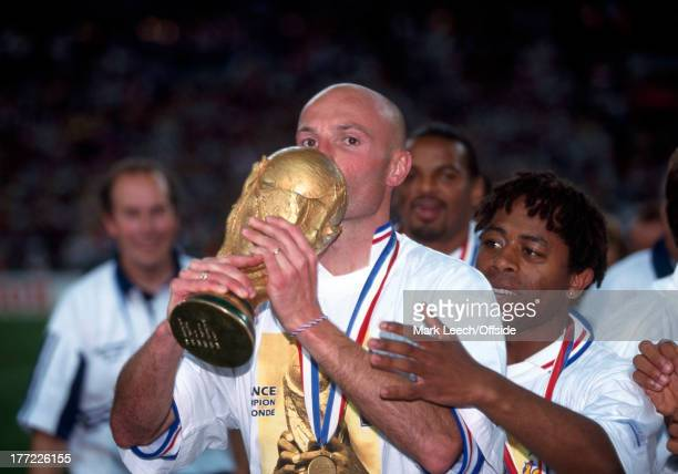 Football World Cup 1998 France v Brazil Frank LeBoeuf kisses the World Cup trophy after the French victory