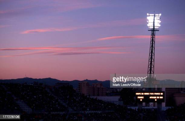Football World Cup 1998, France v South Africa, The floodlights of the Stade Velodrome shine brightly over Marseille.
