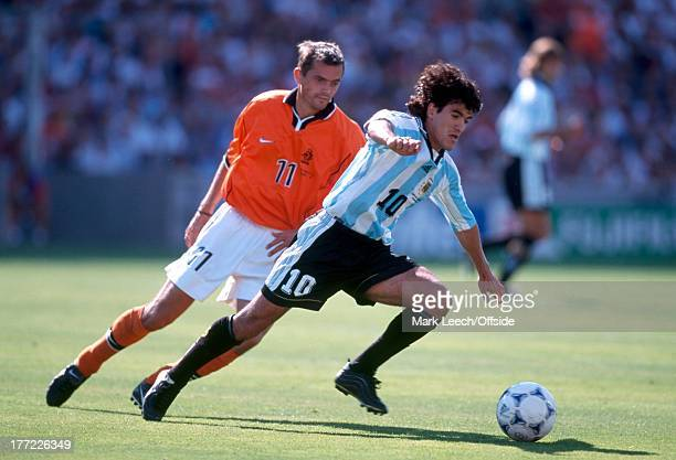 Football World Cup 1998 Holland v Argentina Ariel Ortega turns away from Phillip Cocu