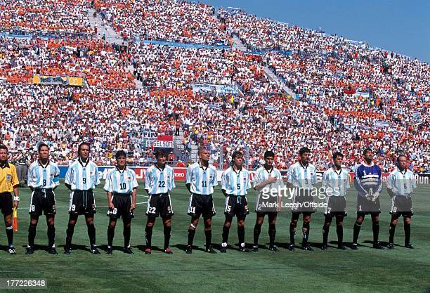Football World Cup 1998 Holland v Argentina The Argentina team line up for the national anthems inside the Stade Velodrome Marseille
