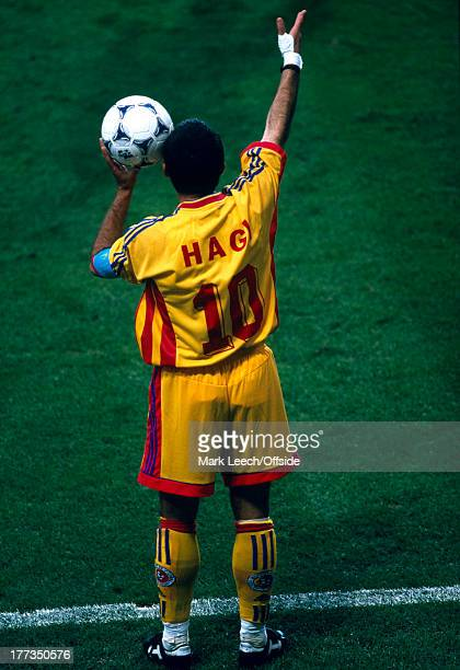 Football World Cup 1998 Romania v England Gheorghe Hagi prepares for a throw in