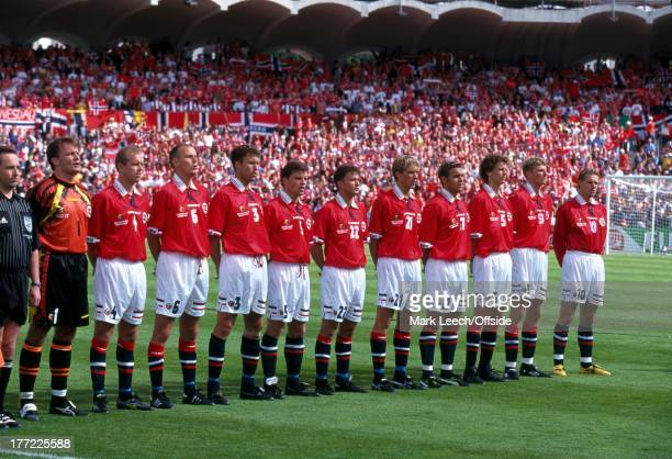 Football World Cup 1998, Scotland v Norway, The Norway team line up for the national anthems.
