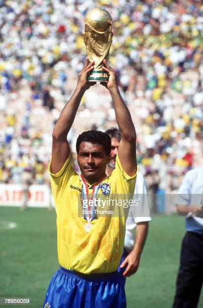Football, World Cup Final, Pasadena Rose Bowl, USA, 17th July 1994, Brazil 0 v Italy 0 aet, , Brazil's Romario holds aloft the World Cup trophy after...