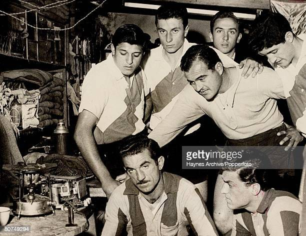 Football World Cup Finals 8th June 1958 Malmo Sweden Germany 3 v Argentina 1 A group picture of Argentina's World Cup footballers listening to a...
