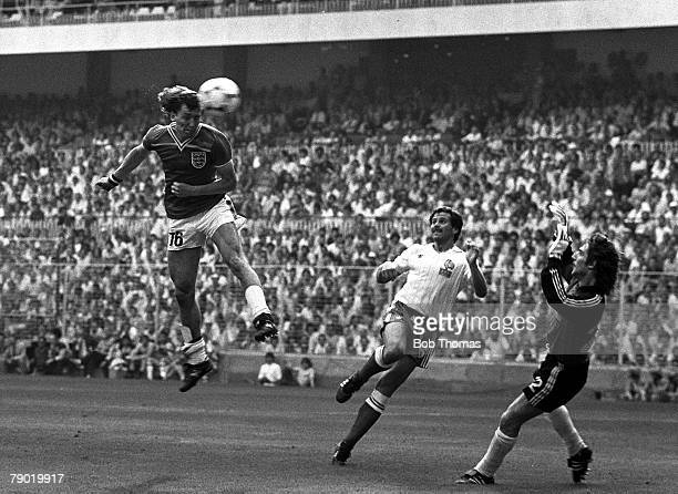 Football World Cup Finals Bilbao Spain Group Four 16th June 1982 England 3 v France 1 England's captain Bryan Robson leaps to head past French...