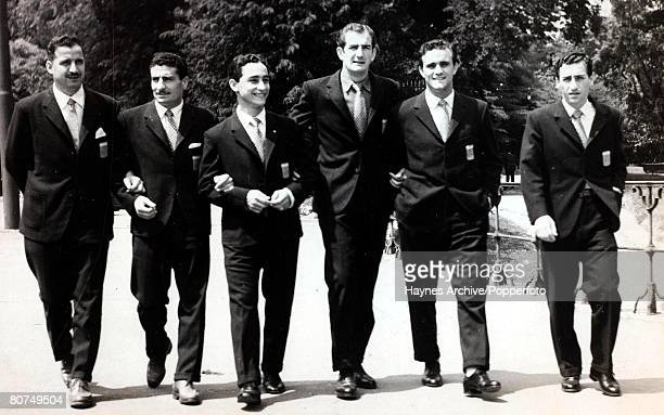 Football World Cup Finals June 1958 Malmo Sweden Some of the Argentina World Cup squad pictured out walking prior to their first tournament match...
