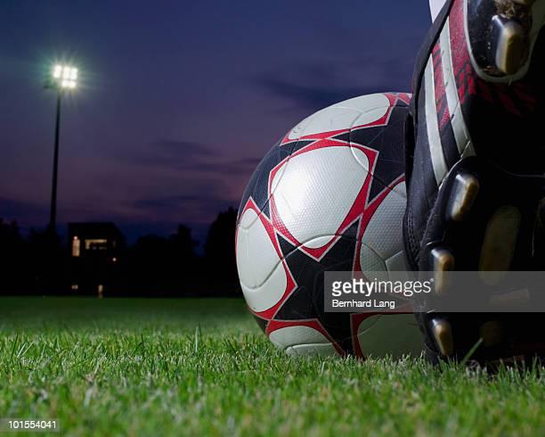 Footballboots and ball, close up