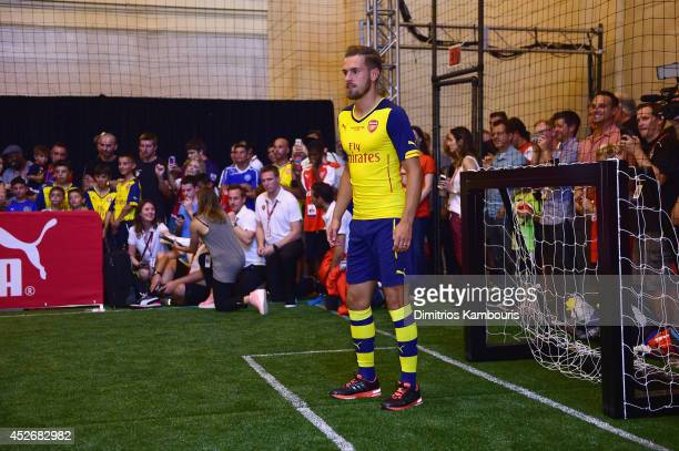 Footballer Aaron Ramsey attends the PUMA and Arsenal Football Club Monumental Cannon in Grand Central Station on July 25 2014 in New York City