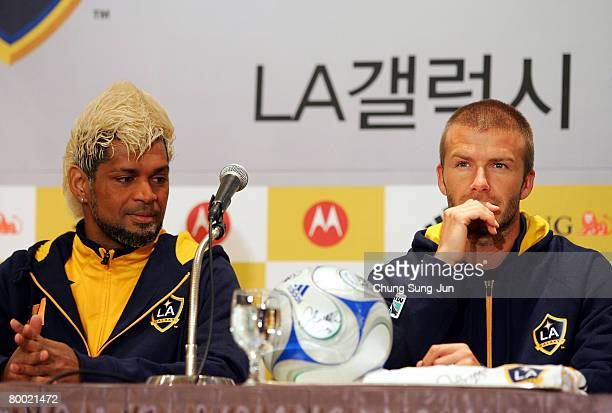 Footballer Abel Xavier and David Beckham of the LA Galaxy attends a press conference at the Lotte Hotel on February 27 2008 in Seoul South Korea...