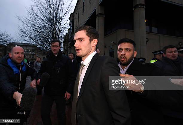 Footballer Adam Johnson leaves Bradford Crown Court on day fourteen of the trial where he was found guilty of one count of child sexual assault...