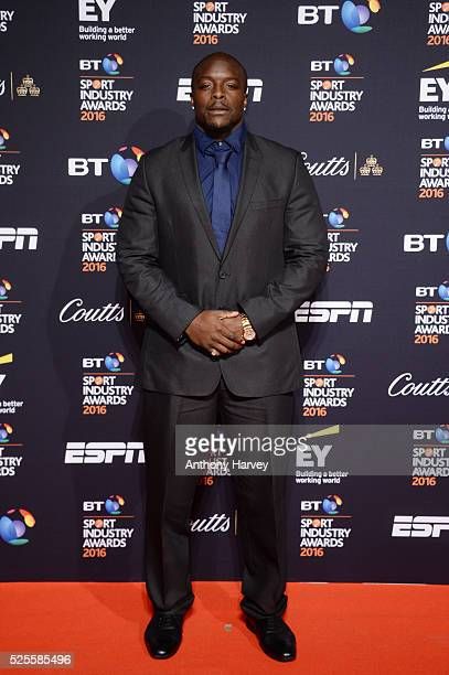 Footballer Adebayo Akinfenwa poses on the red carpet at the BT Sport Industry Awards 2016 at Battersea Evolution on April 28 2016 in London England...