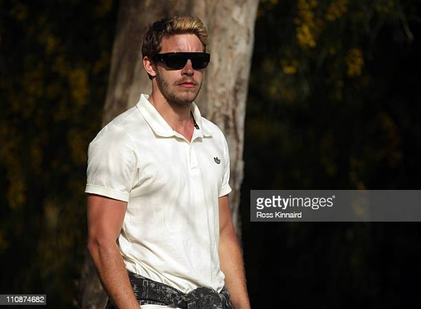 Footballer Alan Smith who was watching Danny Willett during the second round of the Open de Andalucia at the Parador de Malaga Golf Course on March...