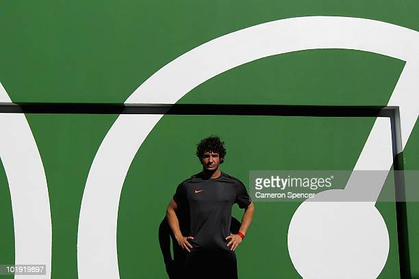 Footballer Alexandre Pato poses at the new NIKE community football training centre in Soweto on June 9 2010 in Johannesburg South Africa The centre...