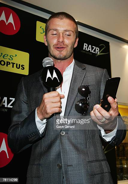 Footballer and Motorola ambassador David Beckham promotes the MOTORAZR2 V8 Luxury Edition mobile phone at a public appearance at the city Optus store...
