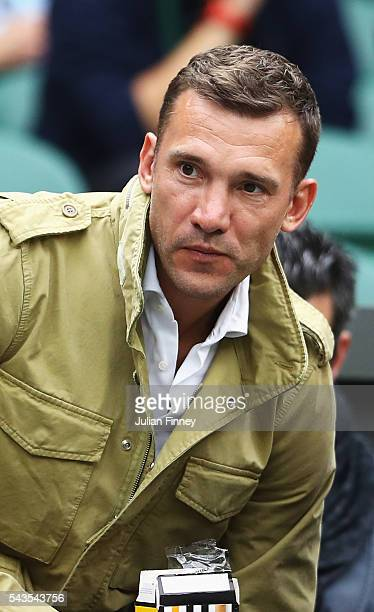 footballer Andriy Shevchenko looks on from centre court on day three of the Wimbledon Lawn Tennis Championships at the All England Lawn Tennis and...