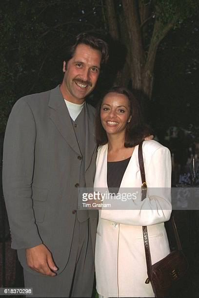Footballer Arsenal and England Goalkeeper David Seaman with his wife Debbie Rogers at celebrity party