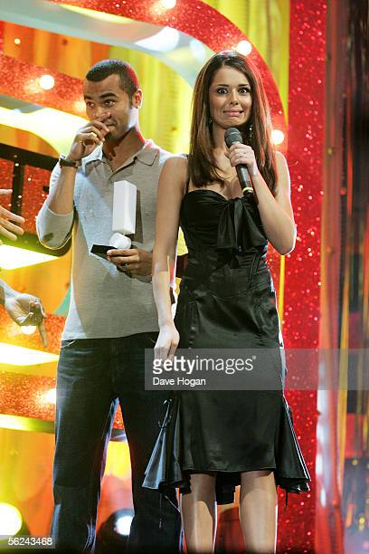 Footballer Ashley Cole and Girls Aloud member Cheryl Tweedy accept the award for Hottest Showbiz Couple on stage at the T4 Poll Winners' Party 2005...