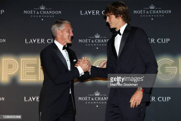 Footballer Bastian Schweinsteiger of Germany and Team Europe Alexander Zverev of Germany arrive on the Black Carpet during the Laver Cup Gala at the...