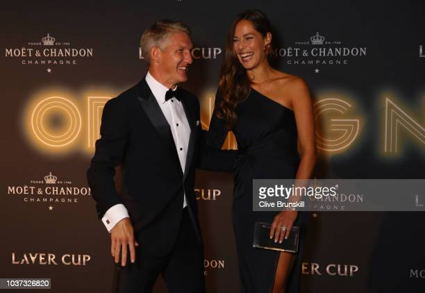 Footballer Bastian Schweinsteiger of Germany and tennis player Ana Ivanovic of Serbia arrive on the Black Carpet during the Laver Cup Gala at the...