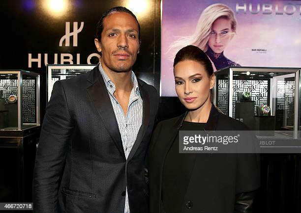 Footballer Bruno Alves and guest pose prior the Hakan Akkaya show during Mercedes Benz Fashion Week Istanbul FW15 on March 18 2015 in Istanbul Turkey