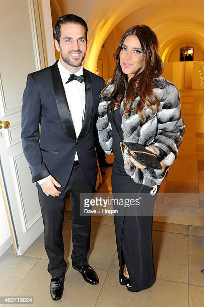 Footballer Cesc Fabregas and Daniella Semaan attend the British Asian Trust dinner at Banqueting House on February 3 2015 in London England