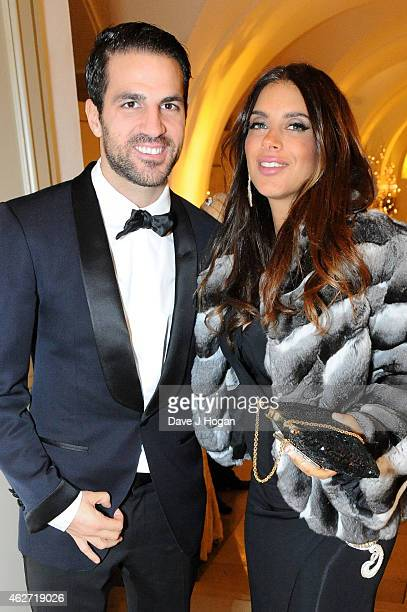 Footballer Cesc Fabregas and Daniella Semaan attend the British Asian Trust dinner at Banqueting House on February 3, 2015 in London, England.