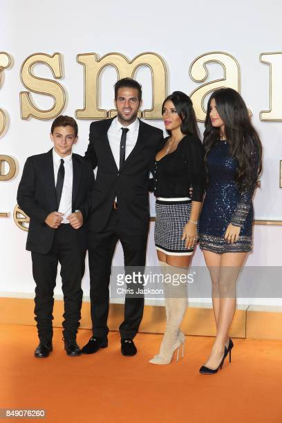 Footballer Cesc Fabregas and wife Daniella Semaan and children attend the 'Kingsman: The Golden Circle' World Premiere held at Odeon Leicester Square...