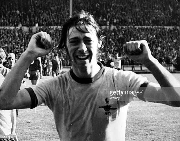 Footballer Charlie George after scoring the winning goal for Arsenal in the FA cup final against Liverpool final score 21