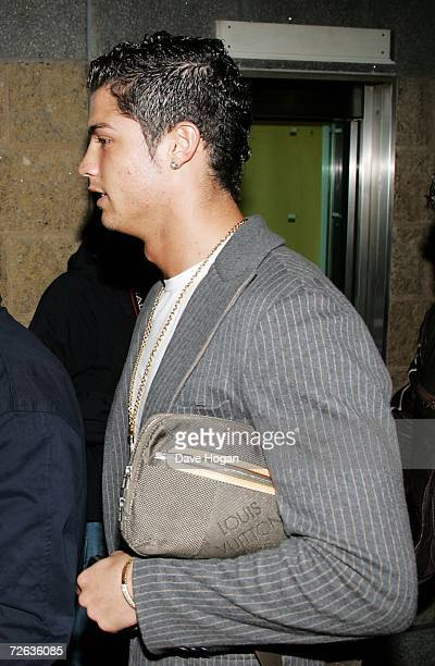 Footballer Cristiano Ronaldo arrives at the first night of the UK leg of Christina Aguilera's Back to Basics tour at the Manchester Evening News...