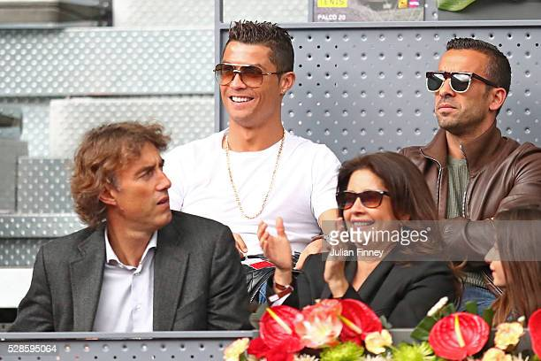Footballer Cristiano Ronaldo attends the Men's Singles Quarter Final match between Rafael Nadal of Spain and Joao Sousa of Portugal during day seven...