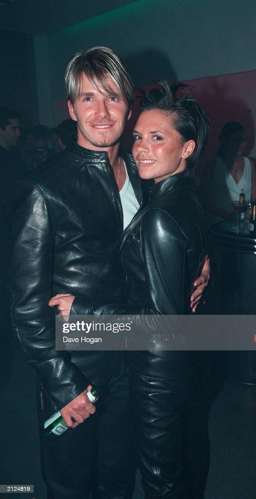 David Beckham And Victoria Adams At Versace Party : News Photo