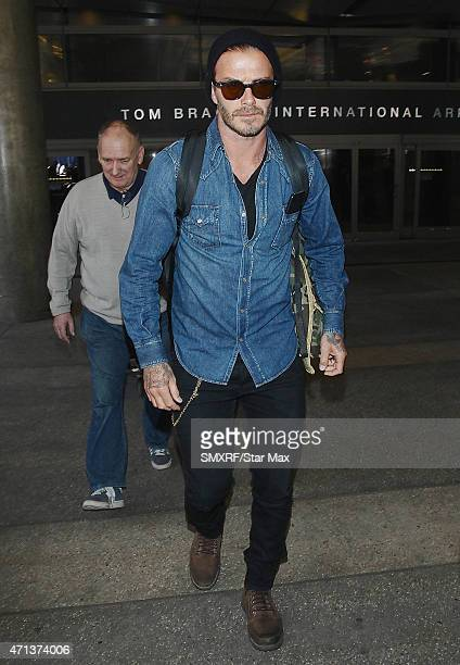Footballer David Beckham and his father, Ted Beckham are seen on April 27, 2015 in Los Angeles, California.