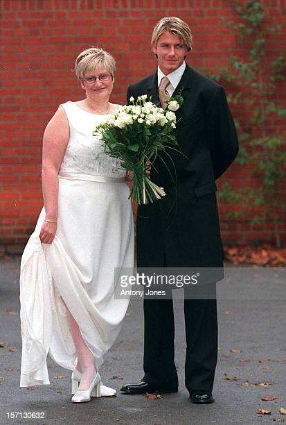 Footballer David Beckham Attends The Wedding Of His Sister Lynne To Her Boyfriend Colin Every At A Register Office In Hornchurch Eessx