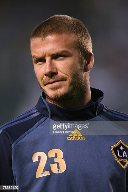 Footballer David Beckham Captain of the Los Angeles Galaxy during the SuperLiga Final match at the Home Depot Center on August 29 2007 in Carson...