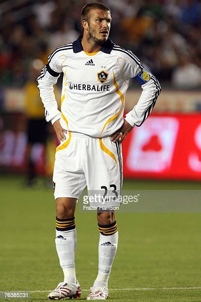 Footballer David Beckham captain of the Los Angeles Galaxy in action during their SuperLiga Final match at the Home Depot Center on August 29 2007 in...