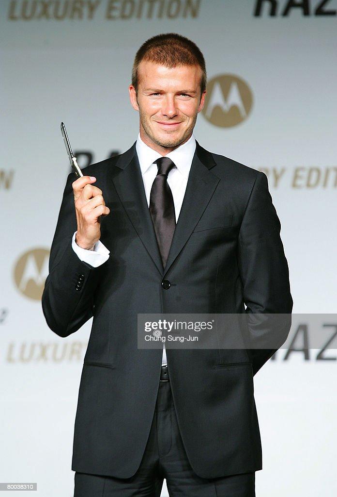 David Beckham Attends Motorola Press Conference : News Photo