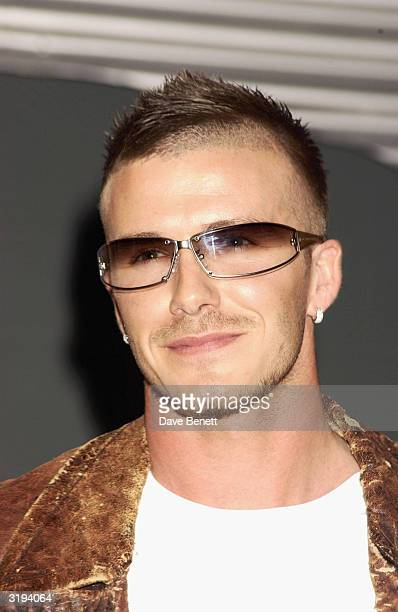 Footballer David Beckham launched the new range of Police sunglasses on February 8th 2002 in London