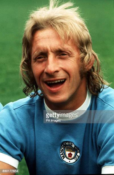 Footballer Denis Law pictured in his Manchester City shirt 1974
