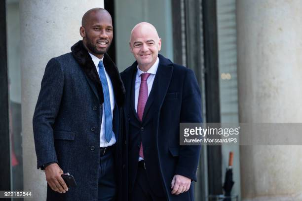 Footballer Didier Drogba and Gianni Infantino FIFA President arrive for the meeting between the French President of the Republic Emmanuel Macron and...