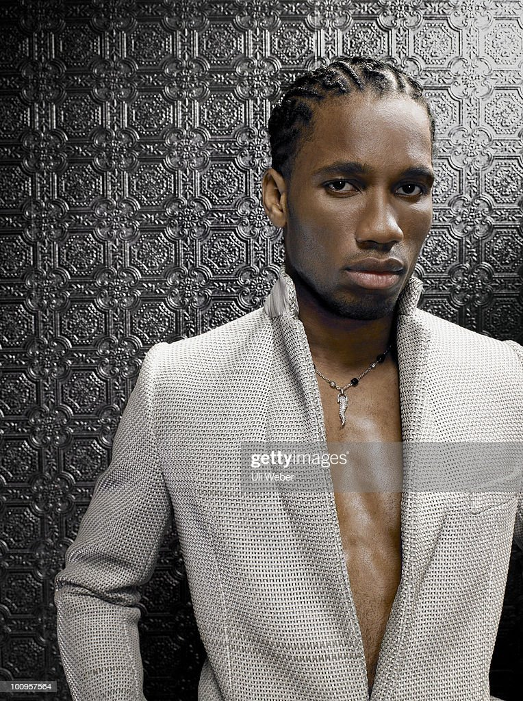 Footballer Didier Drogba poses for a portrait shoot in London on May 3, 2007.