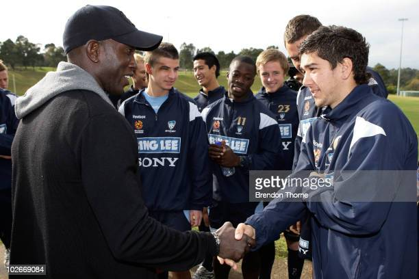 Footballer Dwight Yorke meets with his Sydney FC teammates ahead of the Sydney FC v Everton Tour Down Under match which takes place on July 10 at...